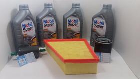 Troca Óleo 502 00 Mobil Super 5w40+ Filtros Originais Vw 1.6
