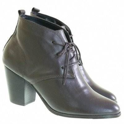Bota Feminina Preta E Marrom Couro Ankle Boot Bebe Promo 411