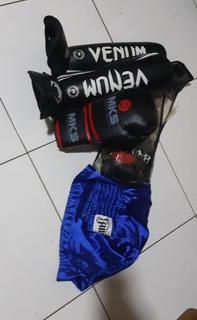 Kit Muay Thai (luva, Caneleira E Short)