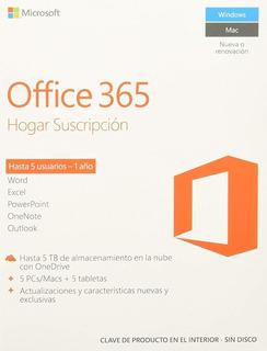 Office 365 Licencia 1 Año 6 Usuarios Hogar Pc Mac Celular