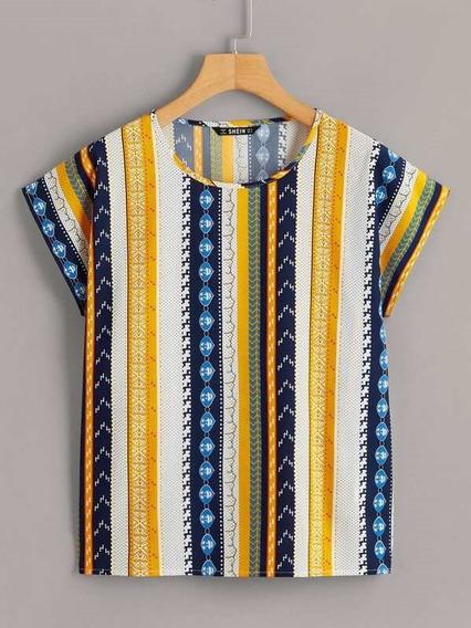 Blusa Shein Rayas Multicolor Importada Para Dama Talla L