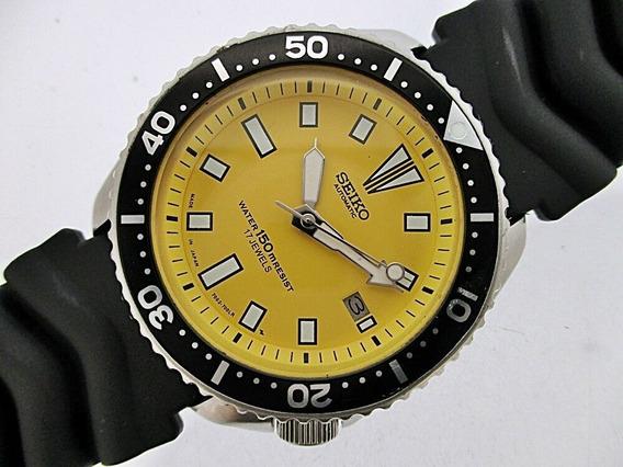 Relógio Seiko Diver 7002-700lr Amarelo De 1993 Perfeito Estado Funcionamento Totalmente Revisado Pulseira Original Nova
