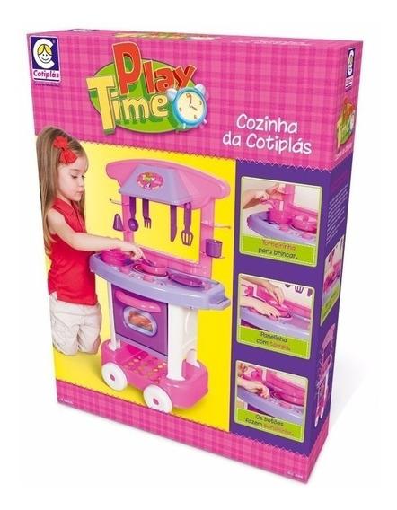Cozinha De Brinquedo Menina Play Time Da Cotiplas Rosa