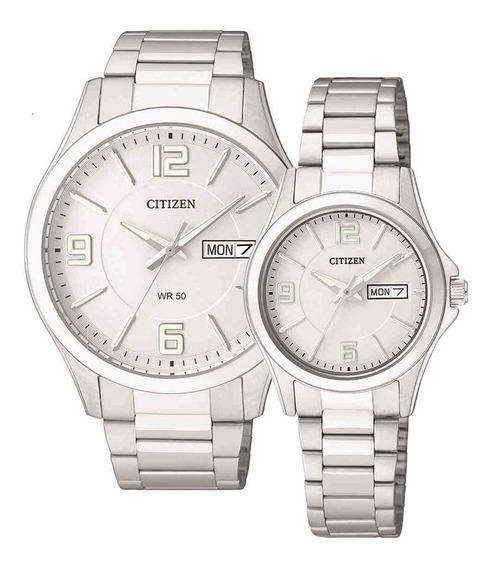 Pareja De Relojes Citizen Color Plateado Eq0591-56a.bf2001-55a Hombre Y Mujer