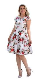 Vestido Feminino Midi Rodado Laço Festa Moda Evangélica