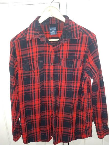 Camisa Cuadros Roja/negro Faded Glory Hombre Talla- M