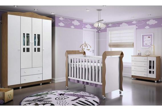 Quarto De Bebê Com Guarda Roupas 4 Portas, Cômoda, He