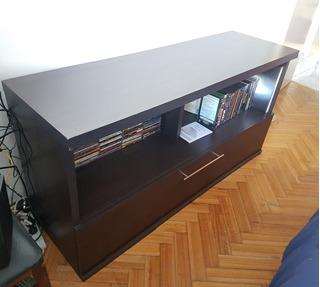 Mueble Rack Tv Wengue Con Cajón