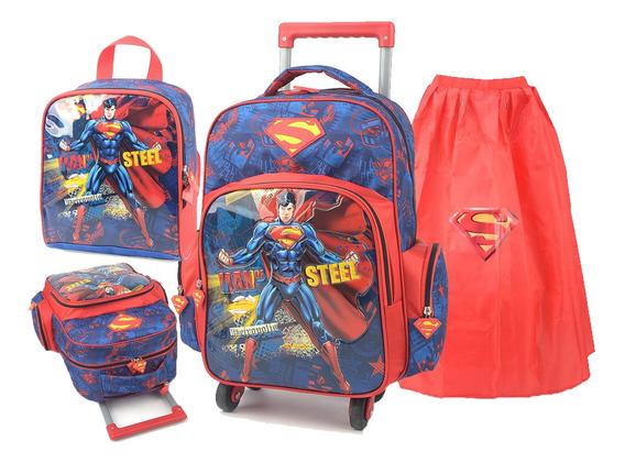Kit Mochila Infantil Menino Superman Super Homem Rodinha 360