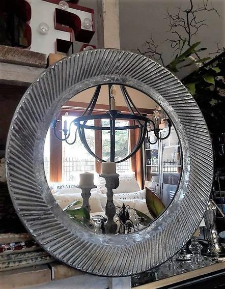 Espejo Chapa De Hierro Decapado 44cm