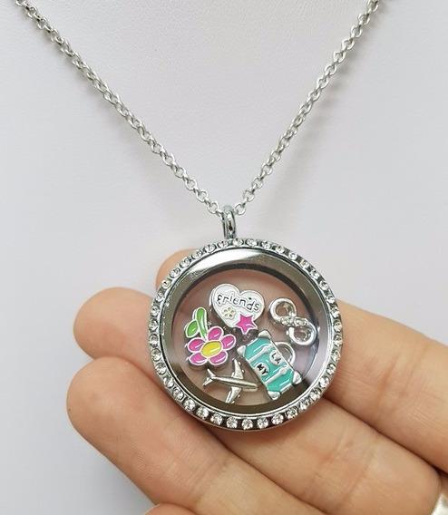 Colar Relicário Com Visor De Vidro E Cristais 5 Beads Charms