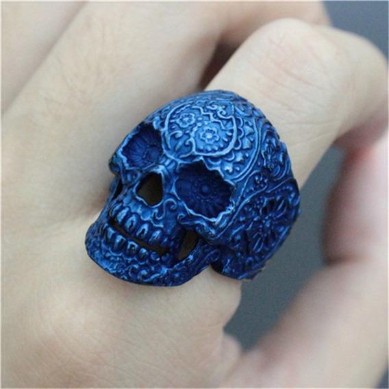 Anel Caveira Mexicana Masculino Unissex Aço Inox Azul Ju Uva