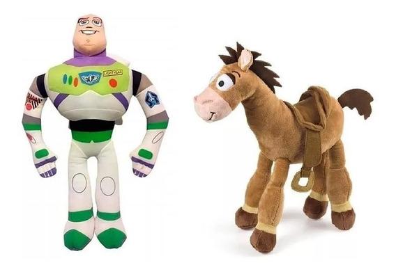 Pelúcia Toy Story Bala No Alvo E Buzz 30cm C/ Som E Vozes