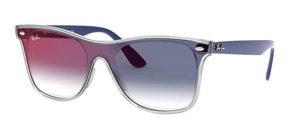 Óculos De Sol Ray Ban Rb4440n 6356x0 01-41 Blaze Wayfarer Azul Degradê Original
