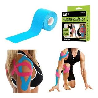 Fita Kinesio Bandagem Elastica Adesiva Funcional Esporte 5mt