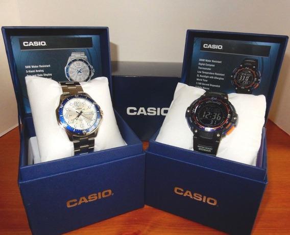 Kit Relógio Casio Analógico E Digital Sgw100 / Mtd100d Novo