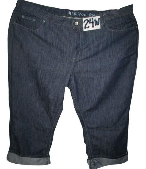 Pantalon Capri Azul Obscuro Mezclilla Talla 24w Merona