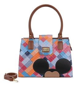 Bolsa Feminina Mickey Mouse Alça Transversal Forrada Couro
