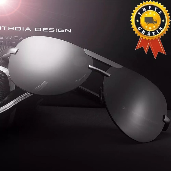 Óculos Sol Uv Total Masculino Polarizado Veithdia - Grey §