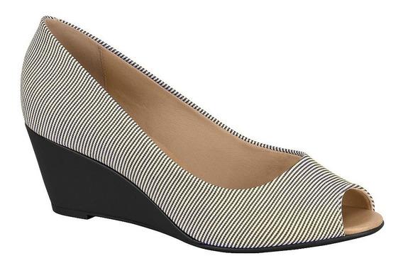 Zapato T/chino Negro, Rayado Beige Y Negro Tipo Boca De Pez