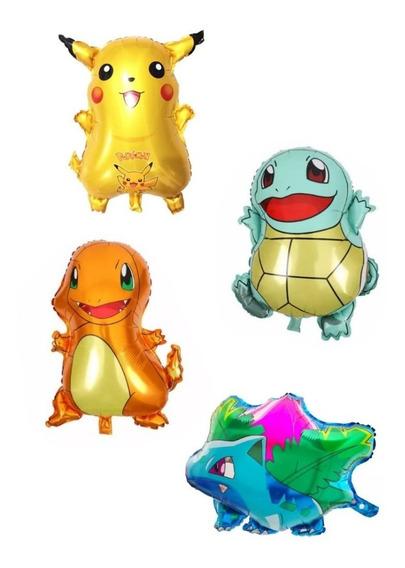 4 Globos Pokemon Pikachu Squirtle Charmander + Ivysaur