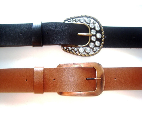 Cinto 4cm Largura Sintético - Troca Fivelas - Kit Com 2 --
