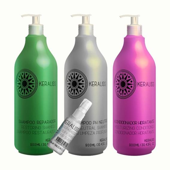 Kit Keraliss 2 Shampoo 1 Acondicionador 1 Serum