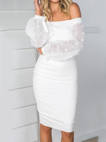 Vestido Blanco Estilo Fourreau Cuello Bandeja Cóctel Fiesta