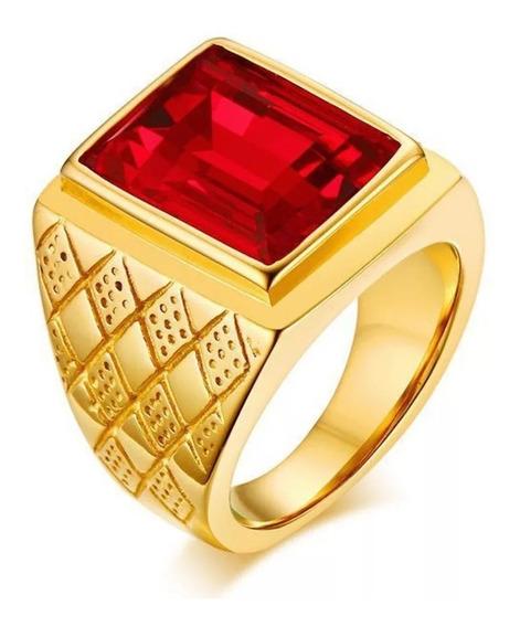 Anel Masculino Dourado Aço Inox Banhado A Ouro Comendador