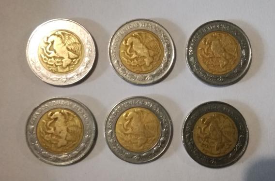 Lote De 6 Monedas Mexicanas De Un Nuevo Peso Del Año 1993