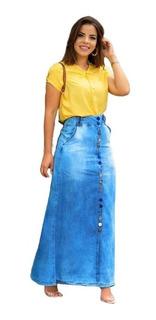 Saia Feminina Longa Jeans Moda Evangelica Joyaly Oferta