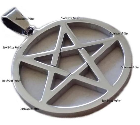 Pingente Aço Pentagrama Invertido Satan Lavey Baphomet
