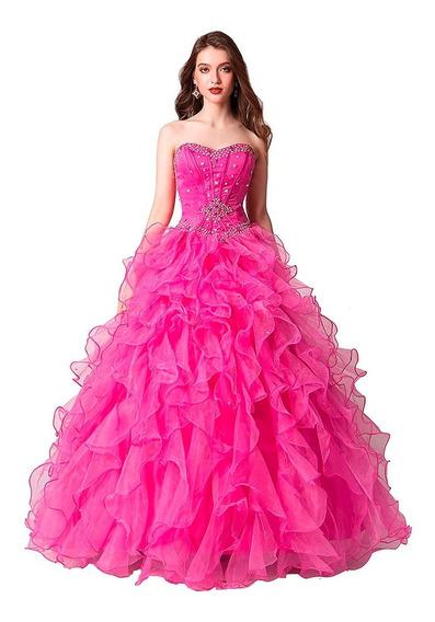Vestido Largo De Quinceañera Color Rosa Fuerte