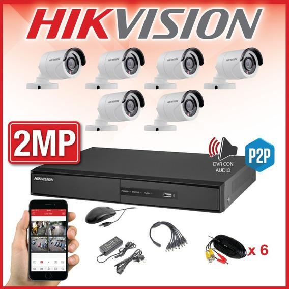 Kit Seguridad Hikvision Dvr 1080p 8ch + 6 Camaras 2mp Fhd