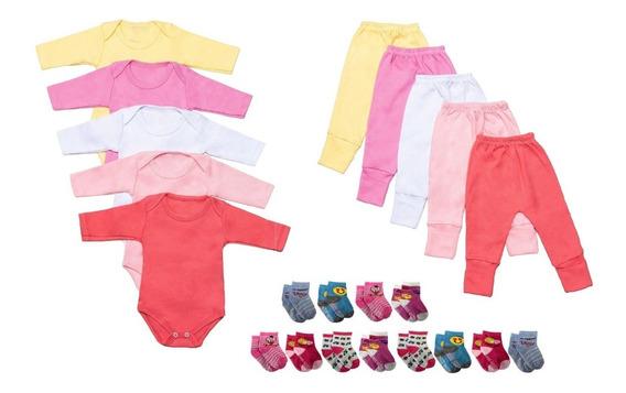 Conjunto 22 Peças Body Calça Meias Para Bebês Algodão