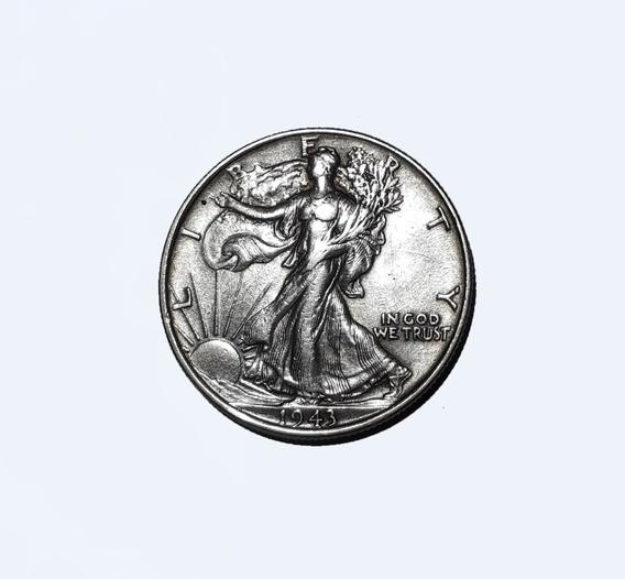 Moneda De Eeuu, 1/2 Dólar Liberty, 1943, Plata 900, Vf