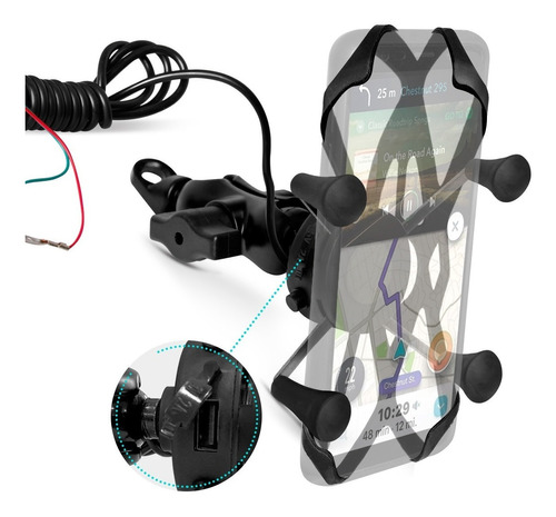 Imagem 1 de 4 de Suporte Celular Articulado Moto Com Carregador Universal Usb