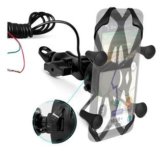 Suporte Celular Articulado Moto Com Carregador Universal Usb