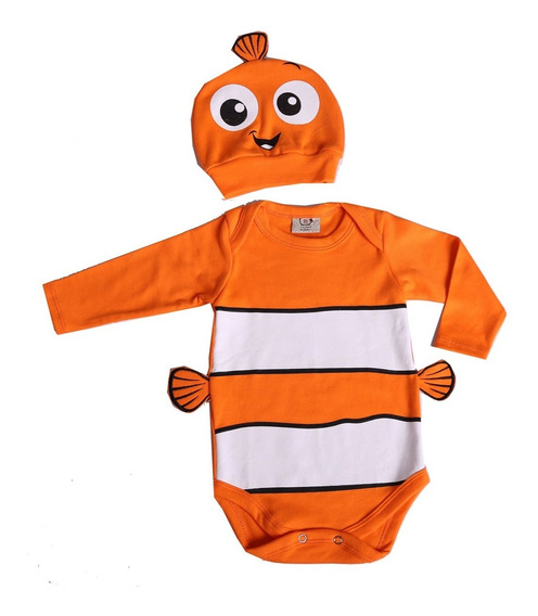 Body De Bebê Personagens Nemo Mesversário Disponível Manga Longa Ou Manga Curta