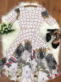 Moda Evangelica Vestido Boneca C Zíper Midi Godê Rodado