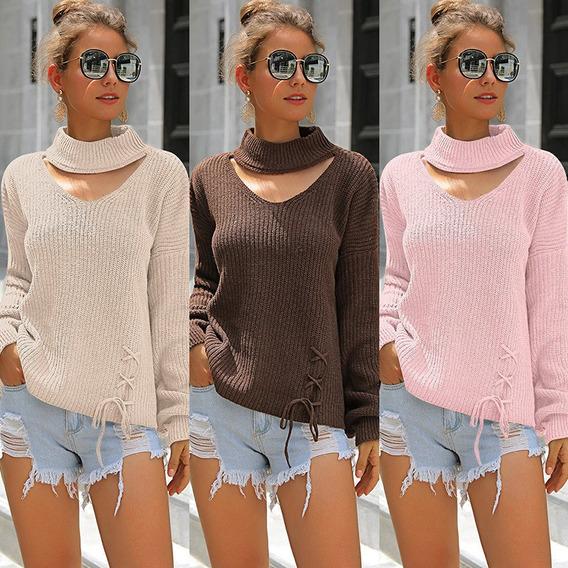 Las Mujeres De La Moda De Invierno De Color Sólido Suéter