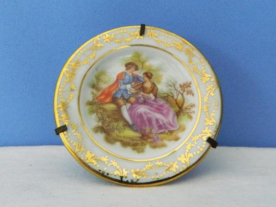 Plato Decorativo Porcelana Limoges 6,5 Cm Soporte Alambre