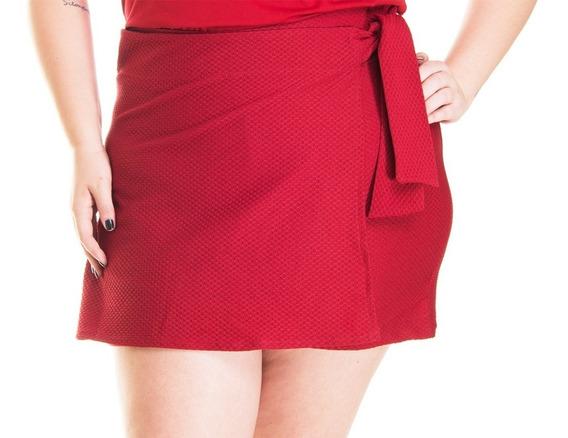 Short Saia Feminino Amarração Lateral Plus Size Cintura Alta