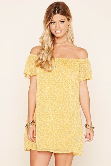 Forever 21 Xxi Vestido Floreado, Off Shoulder, Ideal Salida