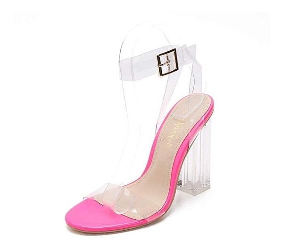 Zapatos Dama Sandalias Tacón Grueso Transparente Mackin J