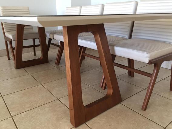 Mesa Laca Off White Com 8 Cadeiras