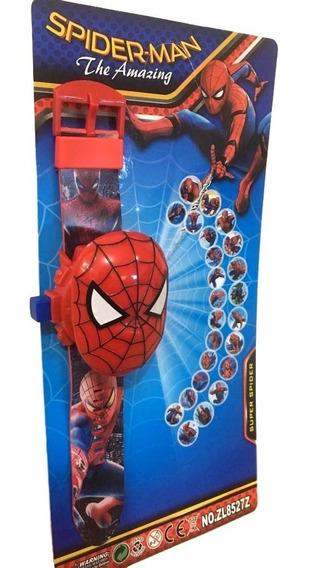 Relógio Infantil Homem Aranha Projetor Imagem 24 Grids Tampa