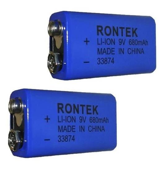 Kit 2 Baterias Recarregáveis 9v De Litio 680mah Rontek