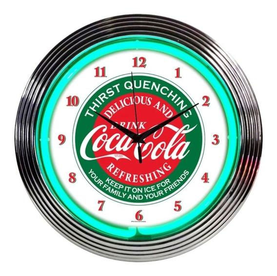 Reloj De Pared Con Luz De Neon Coca Cola Vidrio Soplado Vv4