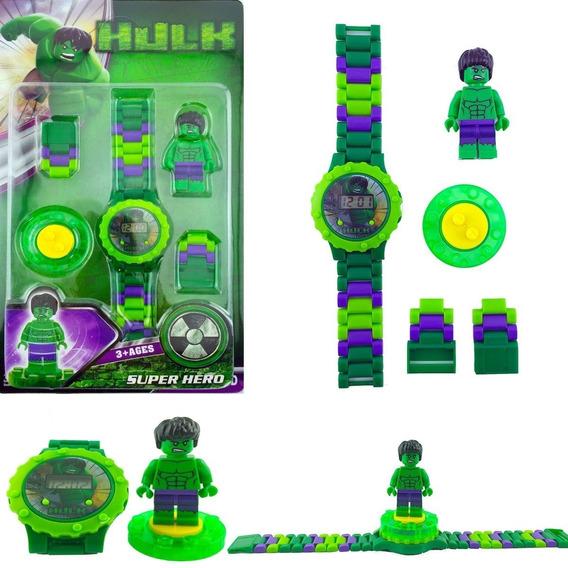 Relógio + Lego Hulk 3d Bloco Montar Digital Pronta Entrega